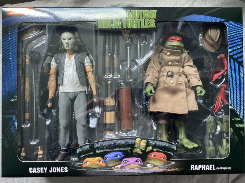 "NECA TMNT 7"" Casey Jones & Raphael Disguise 2 Pack Ninja Turtles Movie IN HAND"