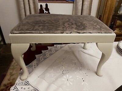 Refurbished Vintage Stool, F&B Paint / Grey Velvet Fabric cover. Chateau Chic