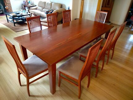 Solid Red Gum Dining Table and 8 Chairs