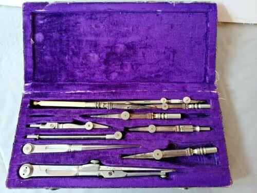 Kern & Cie Aarau en Swiss C 1885 Drafting Instrument Set of 10 As Found
