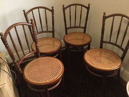 Set of six, antique bentwood and cane dining chairs