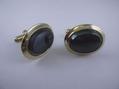 Vintage Cufflinks Jewelry: Dark Glass Gold Tone Clever Design - Clever Male Costumes