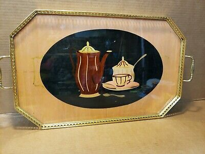 Italian Inlaid Wood Coffee Brass Handles Serving Tray Made In Italy 21
