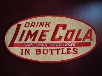 LIME COLA IN BOTTLES UNIFORM PATCH SODA - 10 x 5 INCH VINTAGE RARE ORIGINAL!