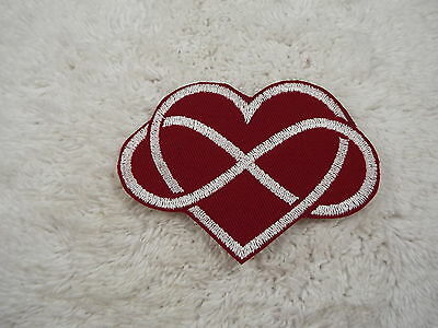 """Red White Infinity Heart 4"""" Embroidery Iron-on Custom Patch (E8)"""