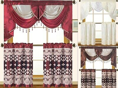 Home Elegance 3 Piece - Empire Home Elegant Fancy Kitchen Curtain 3-Piece Window Set - New Arrival