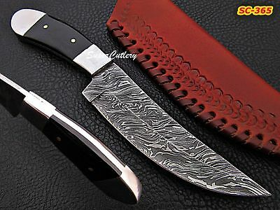 "HAND CRAFTED CUSTOM 9"" DAMASCUS STEEL BUFFALO HORN SKINNER KNIFE- BLACK HANDLE"