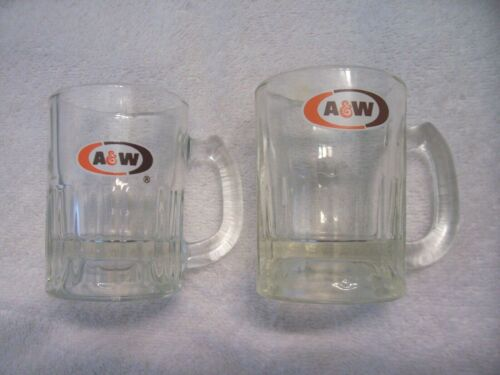"""Lot of 2 Vintage A&W Root Beer Mini Oval Logo A&W Mugs 3"""""""