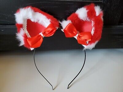 AKA Kittenplay Cat Ears Candycane Petplay Cosplay Standard Headband Clip on](Candy Cane Cosplay)