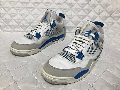 Nike Air Jordan IV 4 Retro White/Military Blue-Neutral Grey 308497 105 Sz