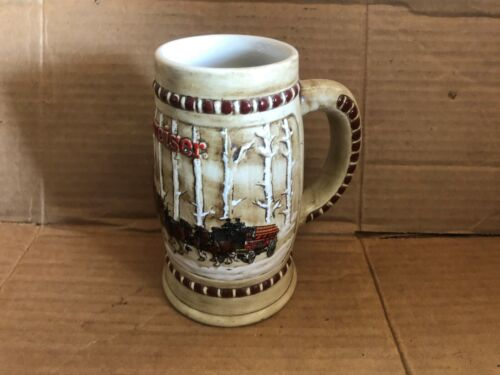 VINTAGE CERAMARTE BUDWEISER CLYDESDALE BIRCH HOLIDAY COLLECTOR STEIN MUG
