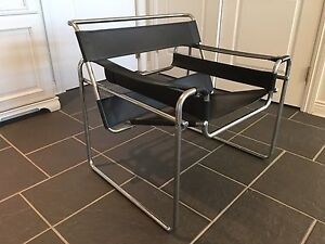 Vintage Mid Century Modern Breuer Knoll Wassily Style Leather Chair Circa  1970u0027s