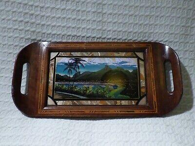 Vintage Wood & Butterfly Wing Souvenir Tray Rio de Janeiro Brazil South America