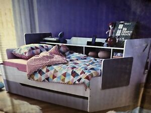 Children's Single Bed with built in shelves and trundle