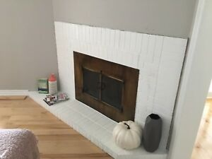 Wood burning fireplace with chimney pipe