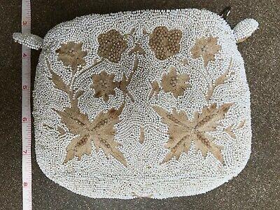 1920s Style Purses, Flapper Bags, Handbags vintage beaded purse 1920s-style cafe au lait colors seed beads floral pattern $35.00 AT vintagedancer.com