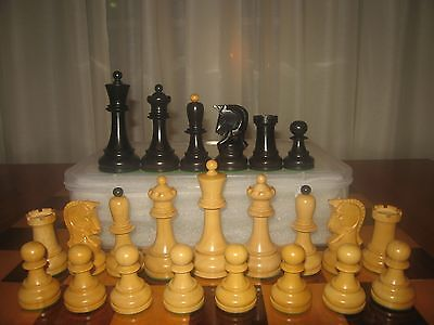 """Dubrovnik Black Stain 4""""  Chess Set with Plastic Storage Box   Extra Queens"""