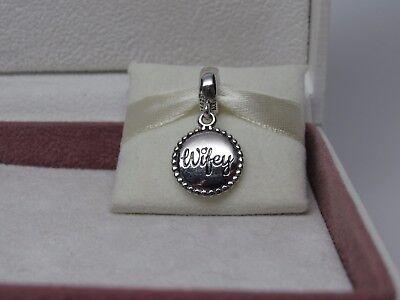 New w/Hinged Box Pandora Wifey Dangle Charm ENG791169_33 Wedding Wife Romance