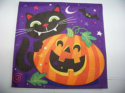 een Katze mit Kürbis Napkins (Kürbisse Halloween-katze)
