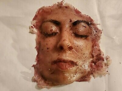 Silicone movie prop butchered face special effect horror gore halloween haunt fx