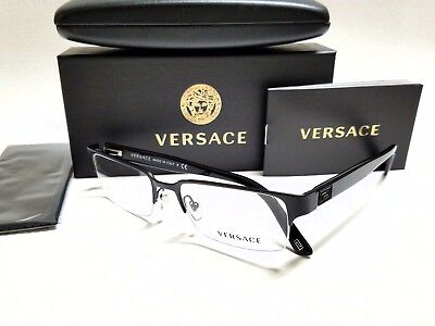 Authentic VERSACE VE1184 1261 Matte Black Semi Rimless 53mm Men's Eyeglasses