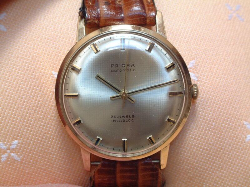 PRIOSA Herren Armbanduhr - automatic - 25 Jewels - incabloc - 14 Kt. Gold 585 -