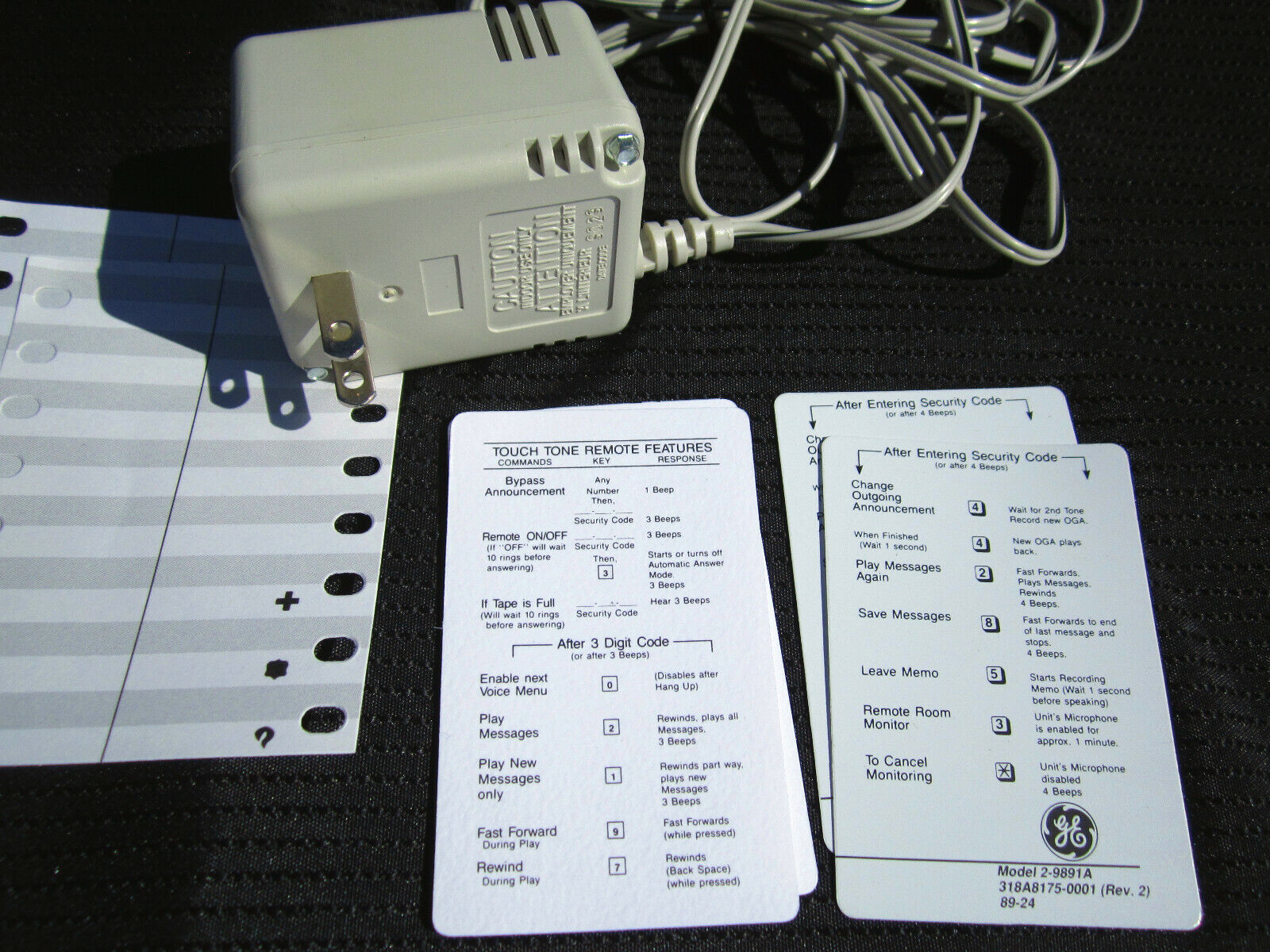 Vintage G E Model 5-2284A Telephone DC 9V Power Supply Cord Codes Label Cards - $14.00