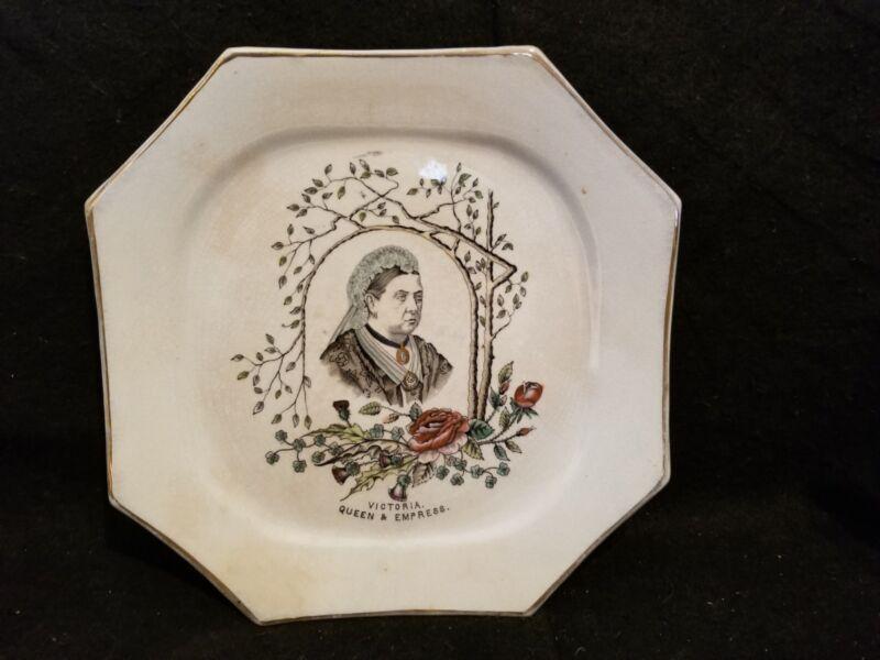 ANTIQUE 1887 Queen Victoria Empress commemorative octagonal transferware plate