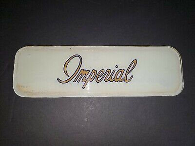 """Vintage Imperial Gas Glass Gas Pump Sign 12"""" x 3.75"""""""