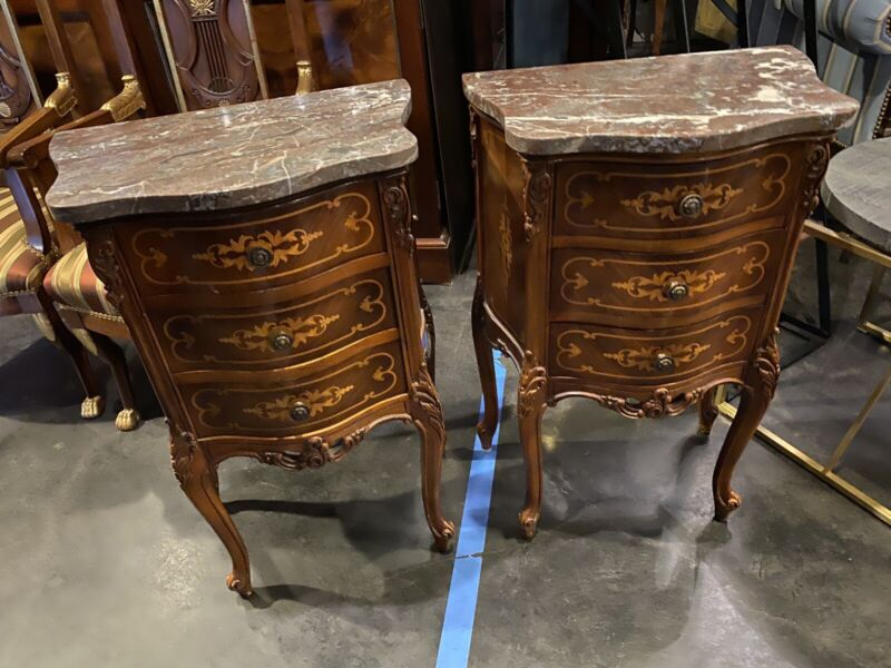 PR FRENCH Style Marble Satinwood & Mahogany Inlaid End TABLES Commode NIGHTSTAND
