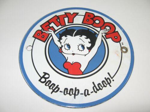"BETTY BOOP 6"" ROUND PORCELAIN on STEEL Boop-oop-a-doop Metal Sign Collectable FS"