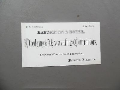 Antique Hartshorn Boyer Dredging Excavating Contractor Card Bement Illinois Vg