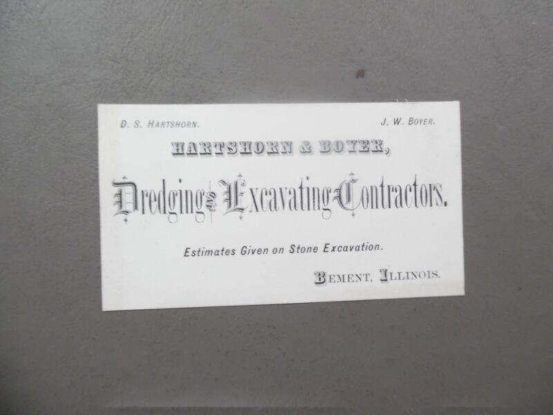 Antique Hartshorn & Boyer Dredging Excavating Contractor Card Bement Illinois VG