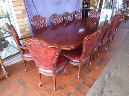 Table, 12 Chairs Incl. 2 Carvers, Double Pedestal, Walnut, 365536 Lane Cove Lane Cove Area Preview