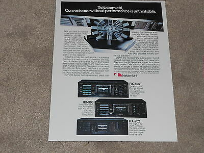Nakamichi RX-505, RX-303, RX-202 Cassette Ad, 1984, Info, 1 page, ready to frame for sale  Olmsted Falls