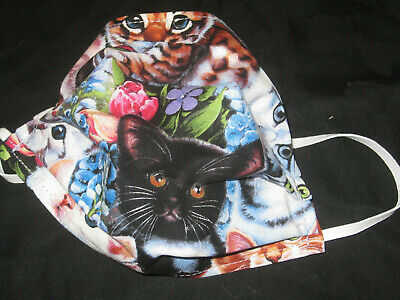 Adult Love Your Cat Hand Made Face Mask Pleated