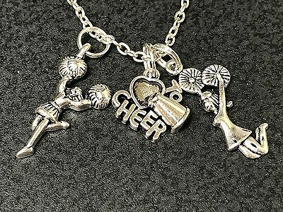Cheerleader I Love to Cheer & 2 Charms Tibetan Silver 18