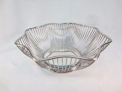 "Pilgrim Silverplate Wired Fruit Bread Serving Bowl Basket 9 1/2"""