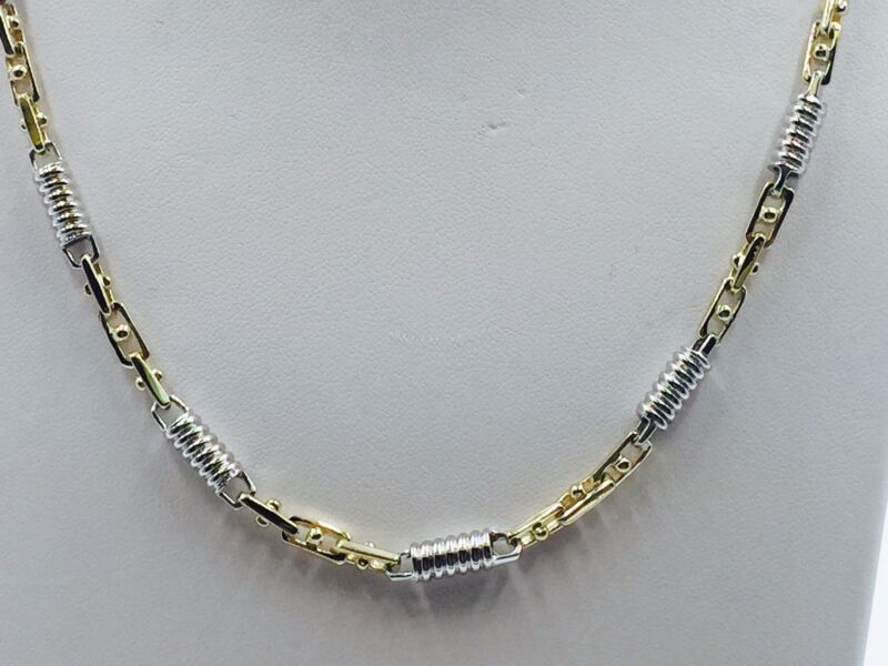 "14k Two Tone Gold Mens Handmade Chain Necklace 18"" 5 Mm. 35 Grams"