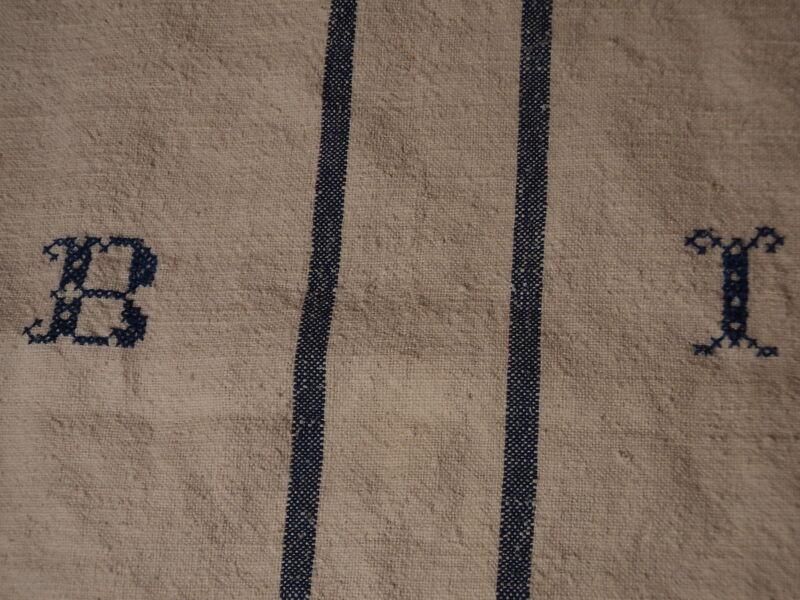 Antique European Feed Sack GRAIN SACK BI Monogram #3782