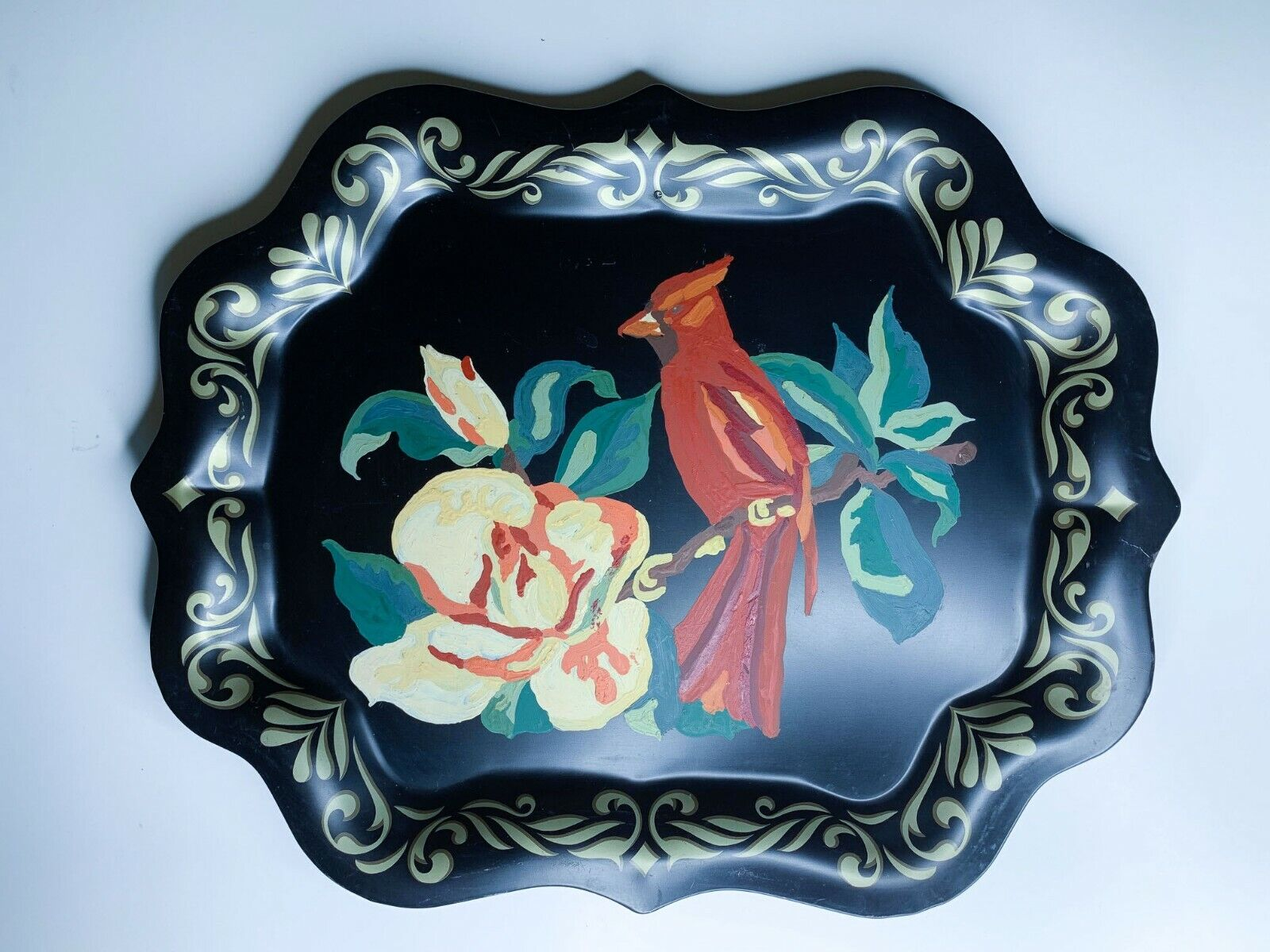 Vintage Cardinal Tole Ware Tray 15x19 Hand Painted Hanging Art Decor Serving  - $35.00