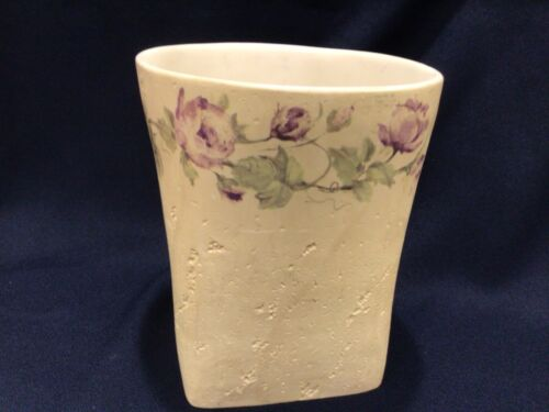 "Croscill Chambord Cassis 9 1/4"" x 8"" diameter Trash Waste Can Basket purple rose"