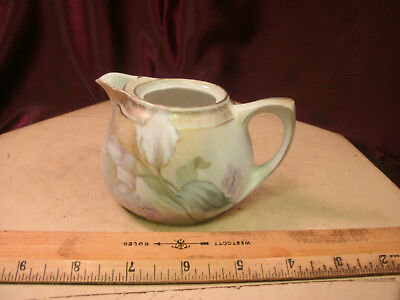 Vtg R S GERMANY HAND PAINTED CREAMER PITCHER W/soft pink tulip design-free ship