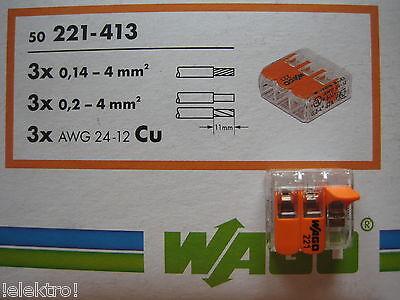 50x Wago Klemmen  Hebel Verbindungsklemme bis  3x4 mm  ( 0,2-4mm )  221- 413 NEU