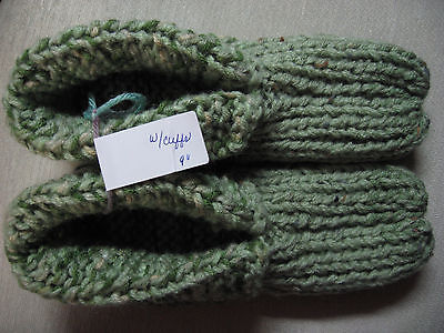"""NWOT Amish Handmade House Slippers w/Cuffs Green Mix Mans Small Womans Medium 9"""""""