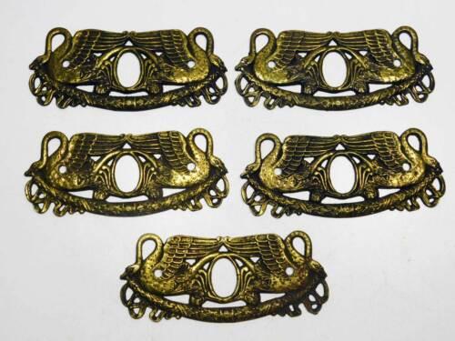 5 Striking Swan Motif Furniture Key Escutcheons, Brass With. Patina, Circa 1810