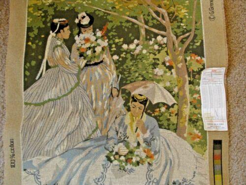 "Vtg needlepoint canvas only 45x60 cm SEG Monet ""Femmes Au Jardin"" NWT"