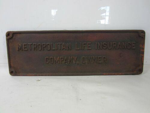 Vintage Metropolitan Life Insurance Cast Iron Company Owner Plaque