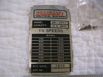 Name Model Plate From Duracraft Industrial Machines Drill Press Model Dp-1617