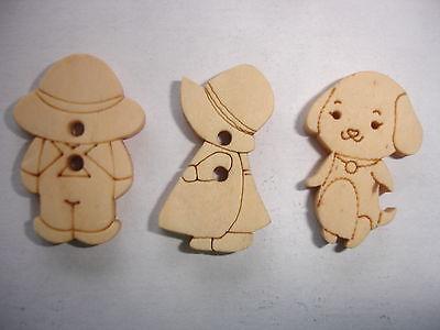 30 Stück  Kinder Knöpfe Holz  in 3 verschiedenen Sorten